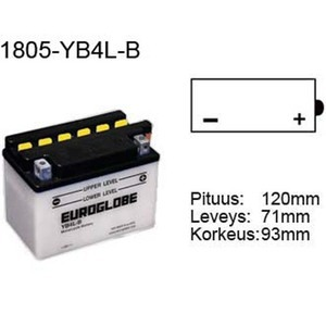 "90-0003 | Euroglobe MP-akku 12V 4Ah ""YB4L-B"" (P122xL71xK92mm)"